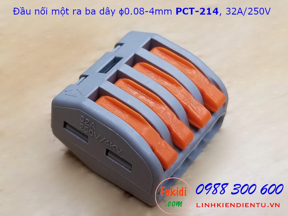 Cút nối dây, đầu nối dây PCT-214 32A 250V 4KW dùng nối bốn dây điện với nhau