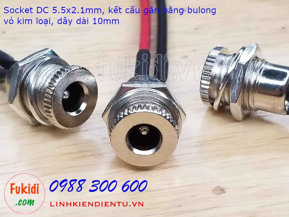 Socket cắm nguồn DC DC099 kích thước loại 5.5x2.1mm, vỏ kim loại, công suất 5A 30V