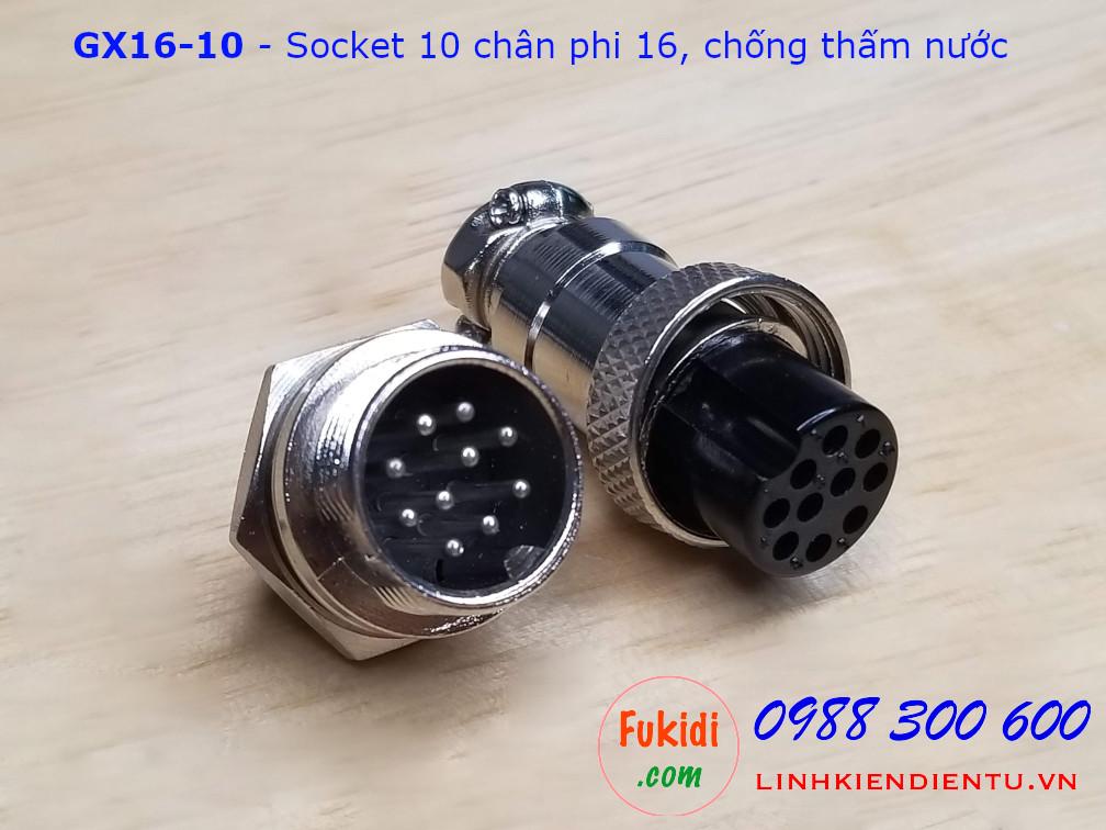 GX16-10 socket ra mười dây, đầu hàn chì, chống thấm, phi 16mm