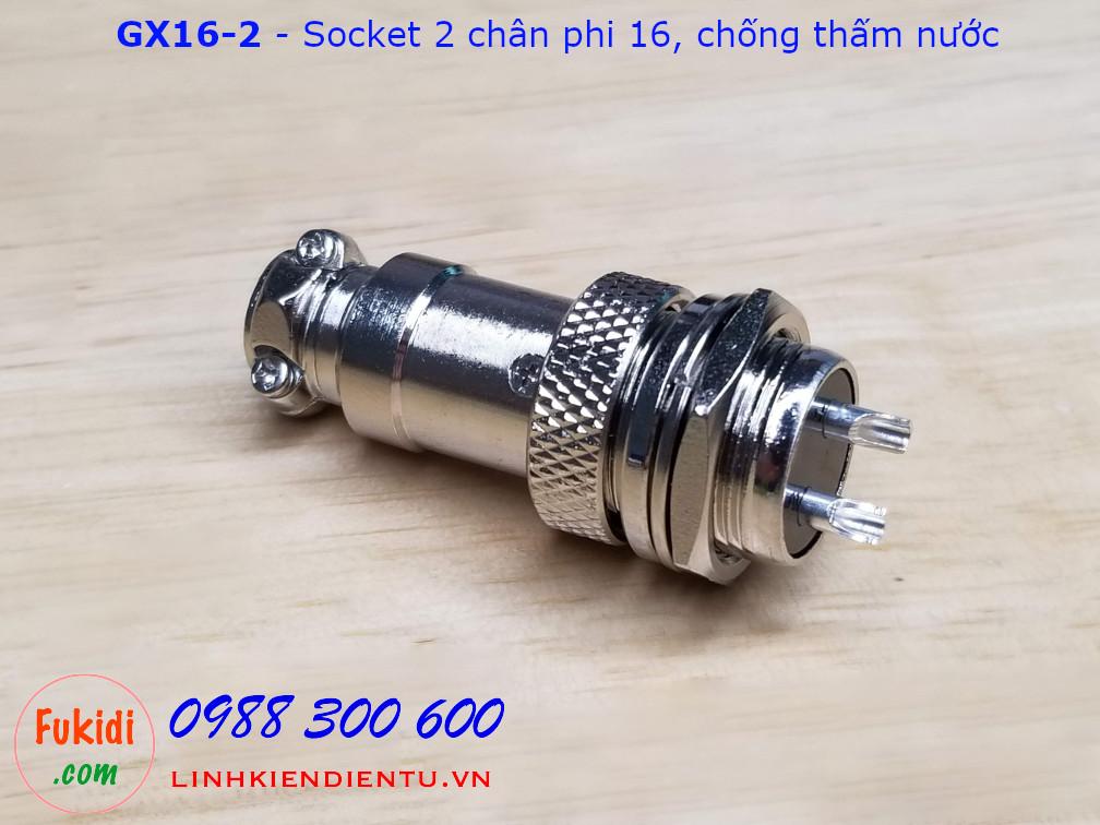 GX16-2 socket ra hai dây, đầu hàn chì, chống thấm, phi 16mm