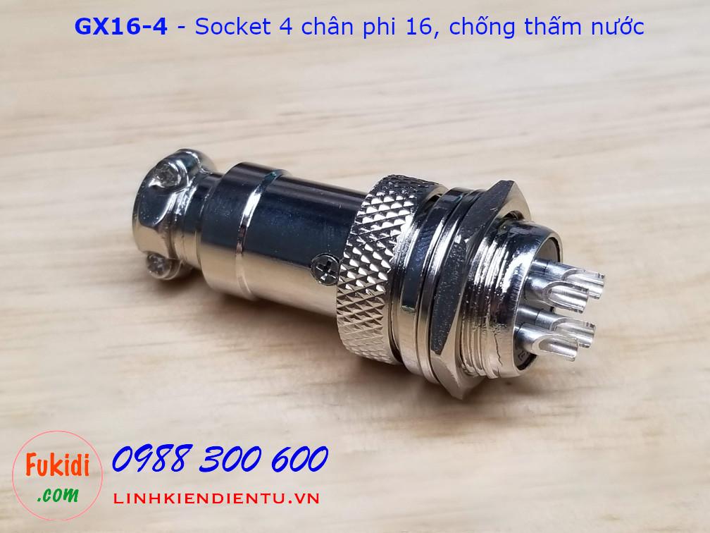 GX16-4 socket ra bốn dây, đầu hàn chì, chống thấm, phi 16mm