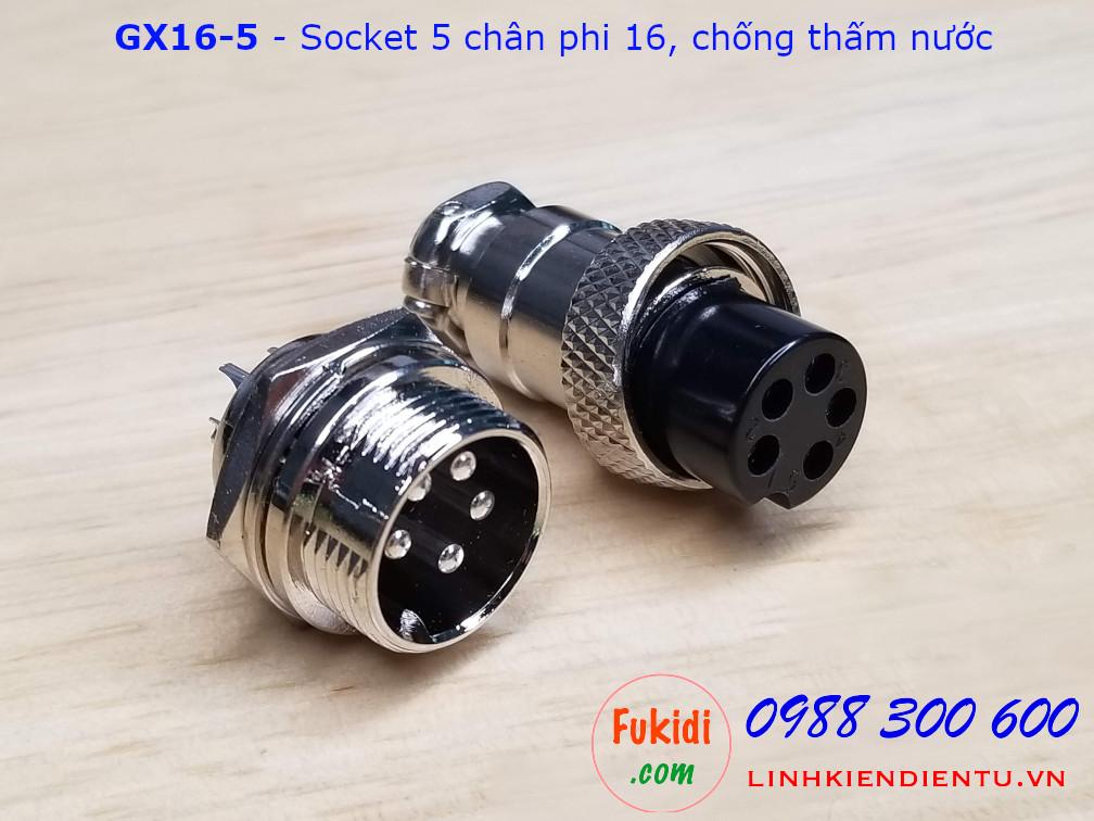 GX16-5 socket ra năm dây, đầu hàn chì, chống thấm, phi 16mm
