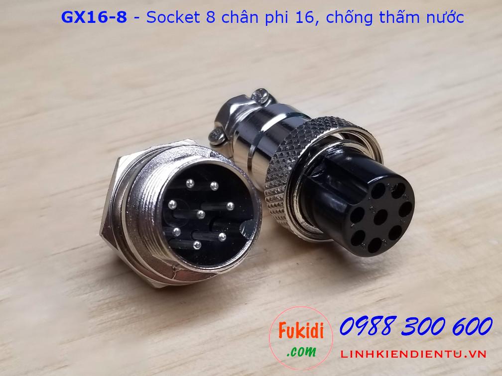 GX16-8 socket ra tám dây, đầu hàn chì, chống thấm, phi 16mm