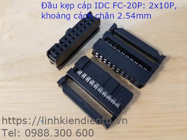Đầu kẹp cáp IDC FC-20P, 2x10P, khoảng cách chân 2.54mm