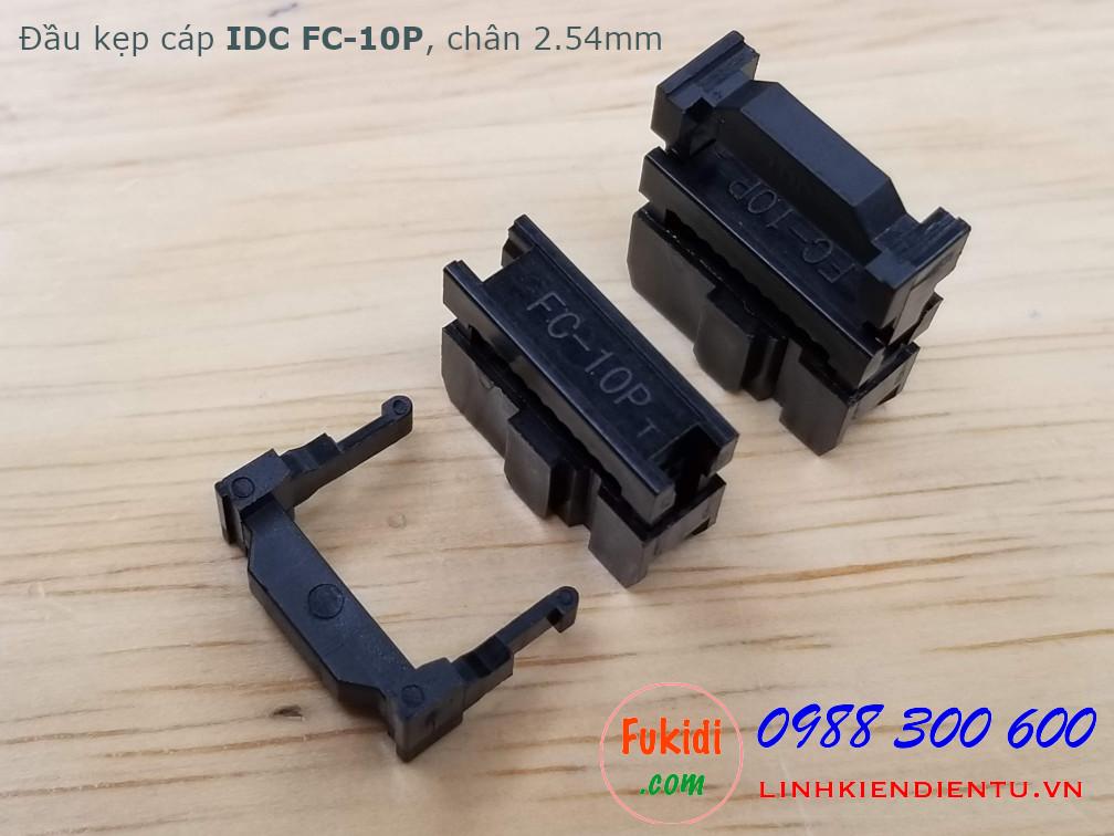Đầu kẹp cáp bẹ IDC FC-10P, 2x5P, khoảng cách chân 2.54mm