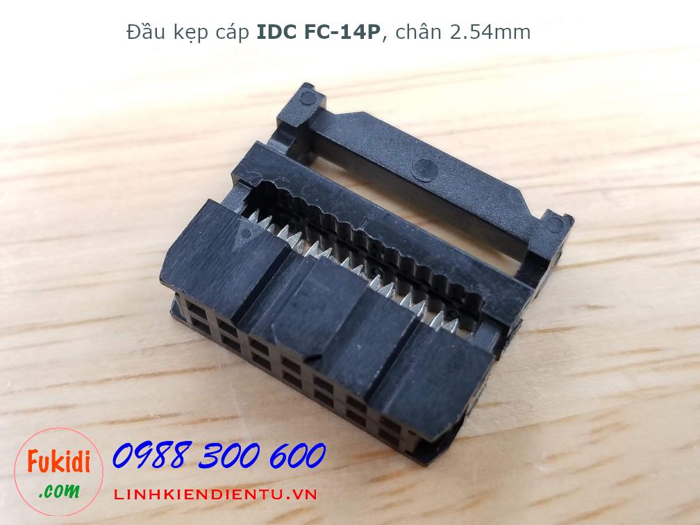 Đầu kẹp cáp bẹ IDC FC-14P, 2x7P, khoảng cách chân 2.54mm