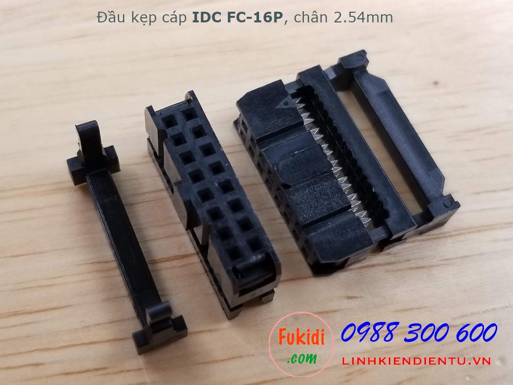 Đầu kẹp cáp bẹ IDC FC-16P, 2x8P, khoảng cách chân 2.54mm