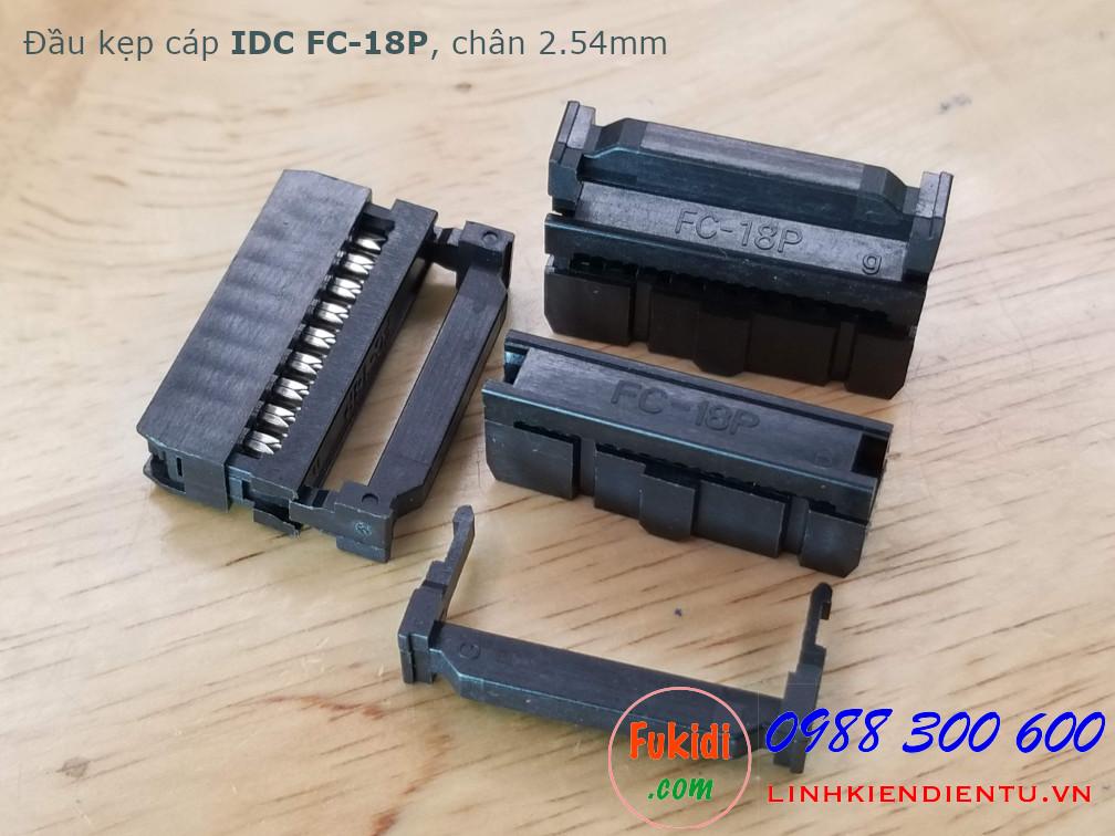 Đầu bấm dây bẹ IDC FC-18P chân 2.45mm màu đen