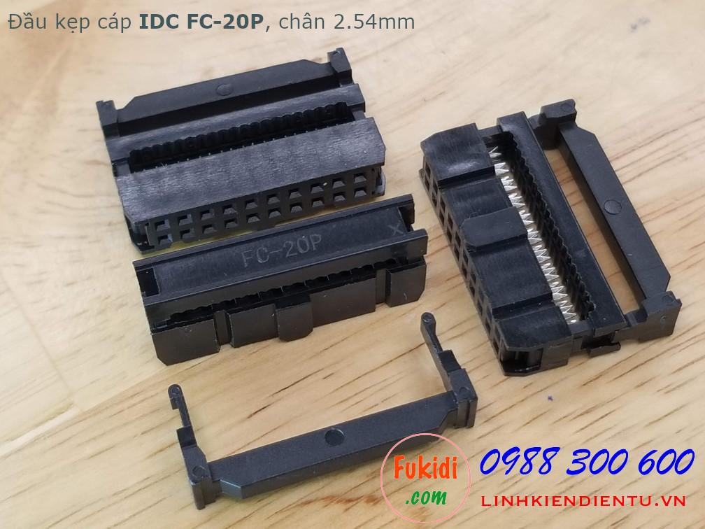 Đầu kẹp cáp bẹ IDC FC-20P, 2x10P, khoảng cách chân 2.54mm