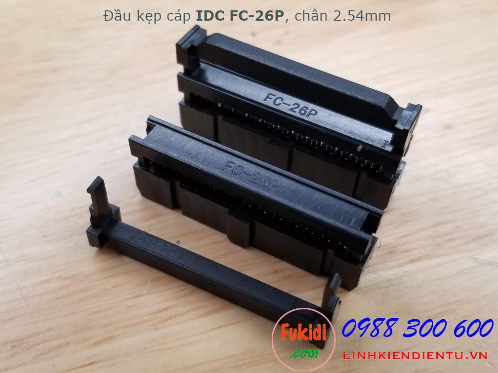 Đầu kẹp cáp bẹ IDC FC-26P bố trí chân 2x13P, khoảng cách chân 2.54mm màu đen