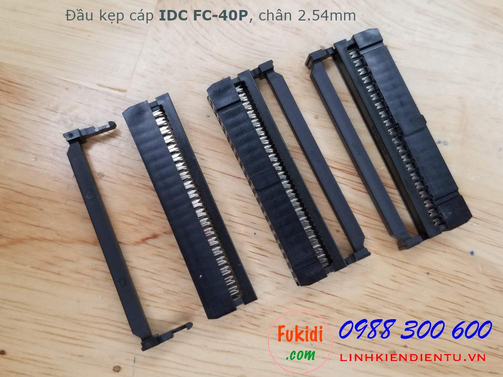 Đầu kẹp cáp bẹ IDC FC-40P bố trí chân 2x20P, khoảng cách chân 2.54mm màu đen