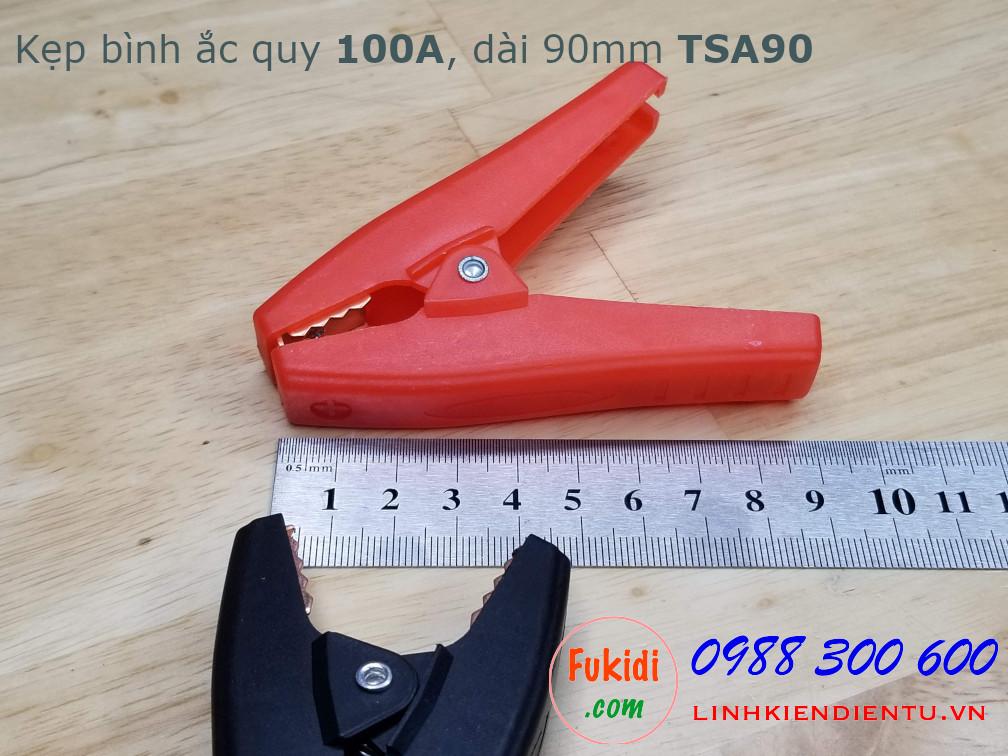 Kẹp cá sấu, kẹp bình ắc quy 100A, chiều dài 90mm, mỏ rộng 35mm model TSA90