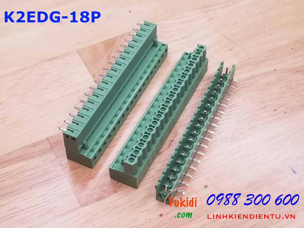 KF2EDG-18P-5.08-L: Đầu nối dây 18 chân cong, khoảng cách chân 5.08mm