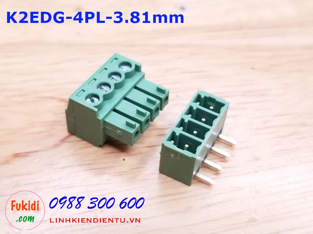 KF2EDG-4P-3.81-L: Terminal Block 4P 3.81mm straight - Jact cắm 4 chân thẳng