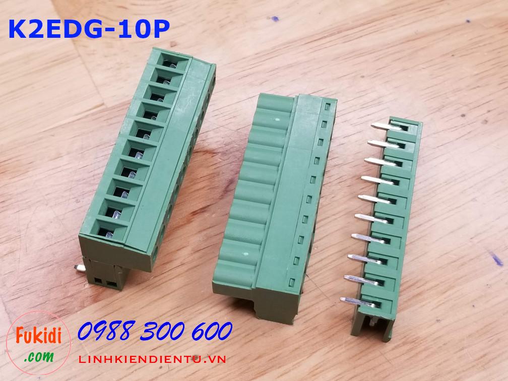 KF2EDG-10P-5.08-L: Terminal Block 10P 5.08mm curved - Jact cắm 10 chân cong
