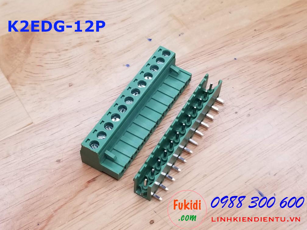 KF2EDG-12P-5.08-L: Terminal Block 12P 5.08mm curved - Jact cắm 12 chân cong