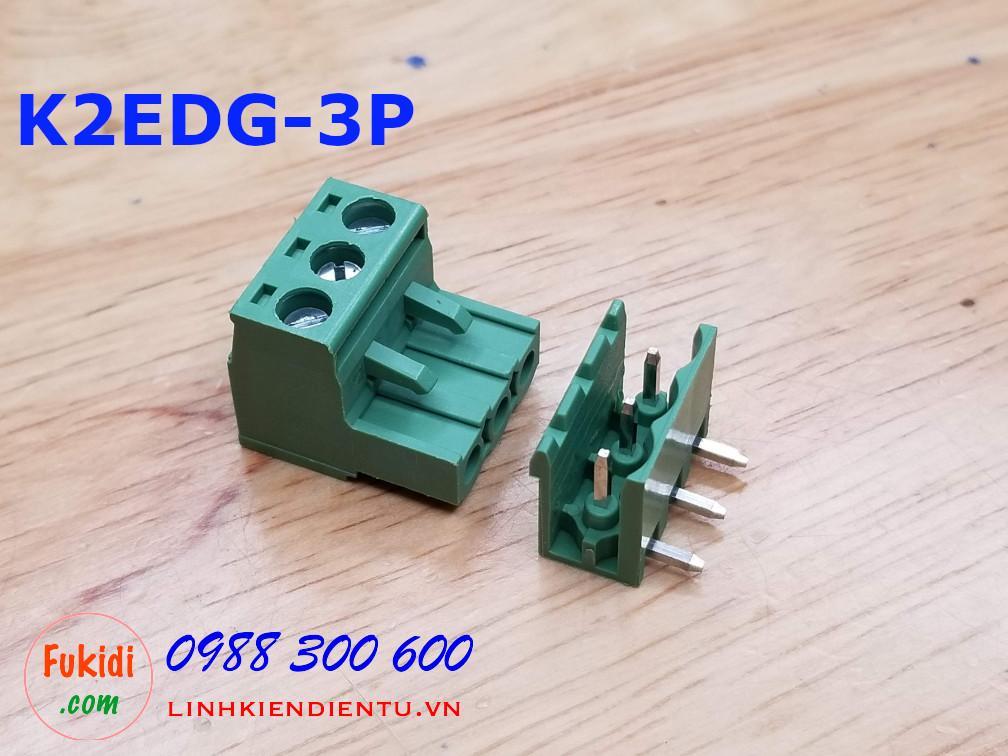 KF2EDG-3P-5.08-L: Terminal Block 3P 5.08mm curved - Jact cắm 3 chân cong