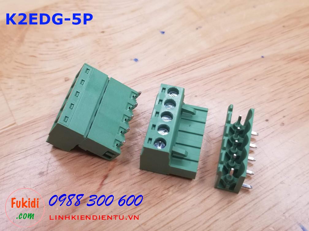 KF2EDG-5P-5.08-L: Terminal Block 5P 5.08mm curved - Jact cắm 5 chân cong