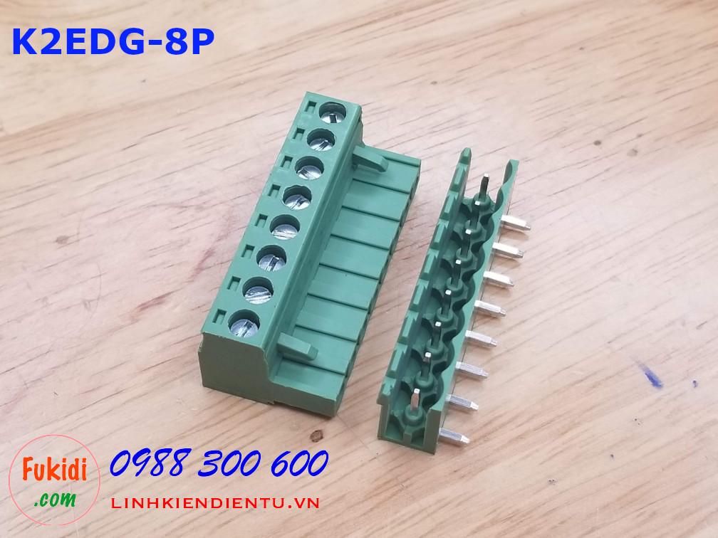 KF2EDG-8P-5.08-L: Terminal Block 8P 5.08mm curved - Jact cắm 8 chân cong