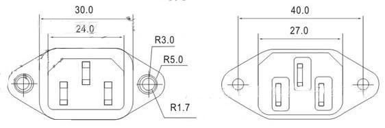 Kích thước socket AS-05 - cắm dây nguồn máy tính