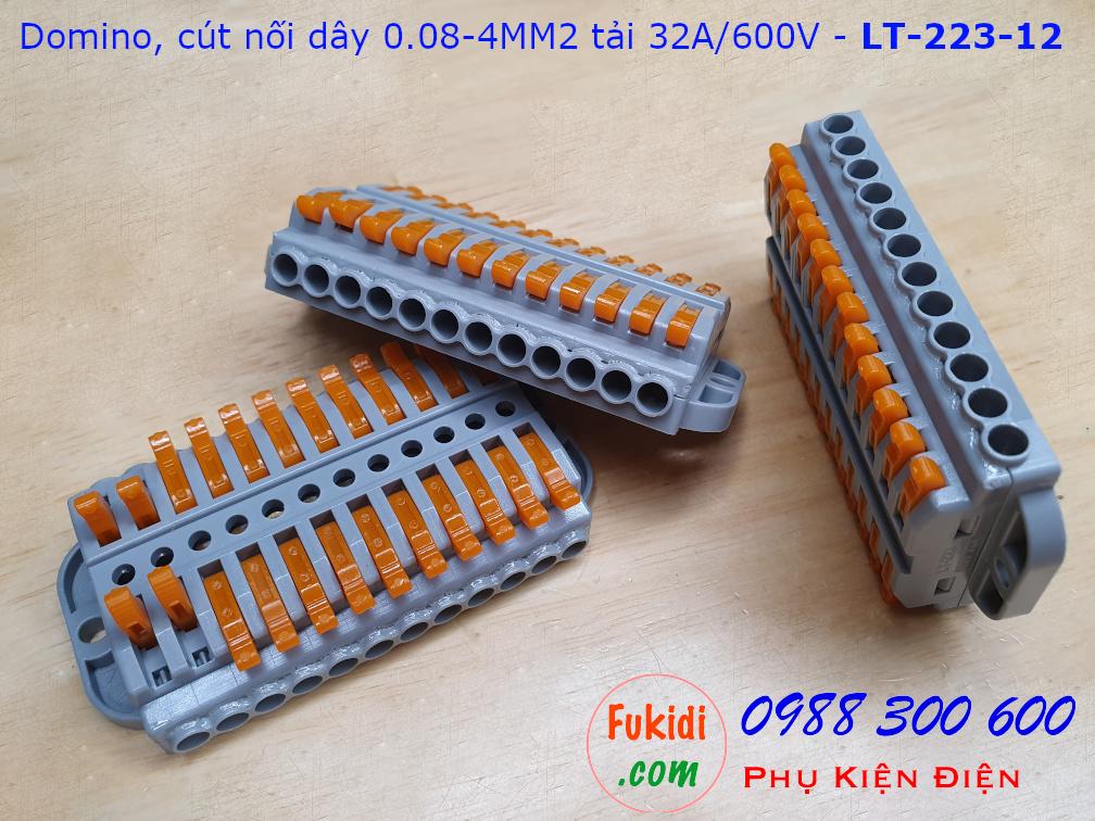 Domino 12 chân, cút nối dây 12 chân LT-223-12 nối 12 cặp dây 0.08-4mm2, công suất 32A/600V