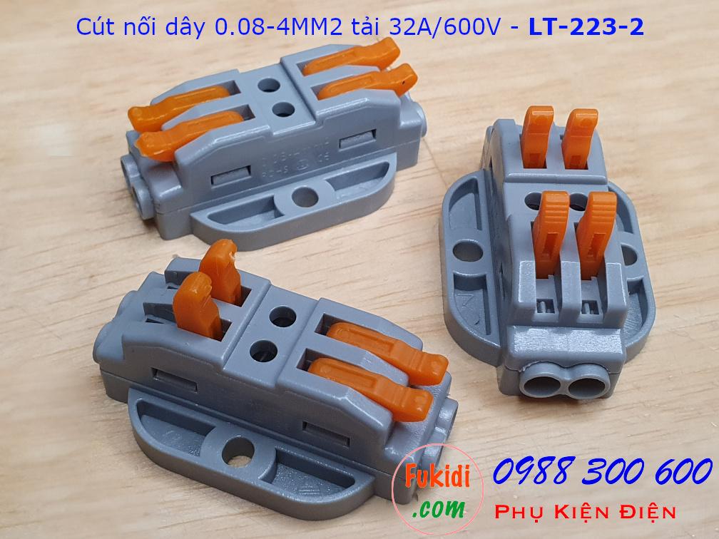 Cút nối dây LT-223-2 nối 2 cặp dây 0.08-4mm2, công suất 32A/600V