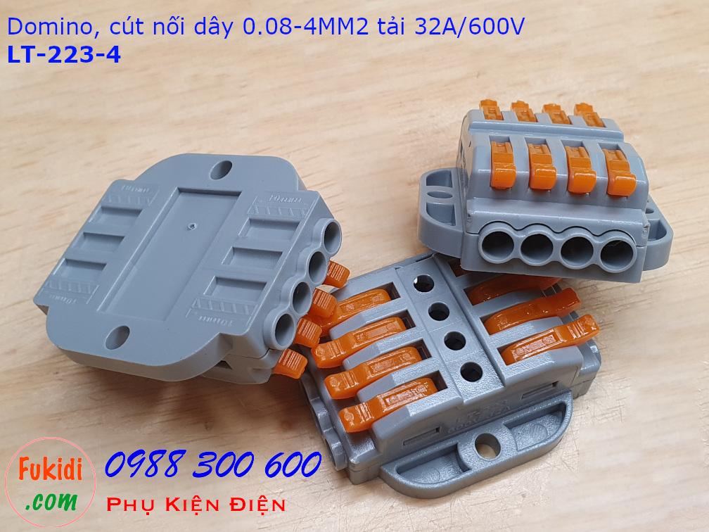 Domino 4P, cút nối dây 4 chân LT-223-4 nối 4 cặp dây 0.08-4mm2, công suất 32A/600V