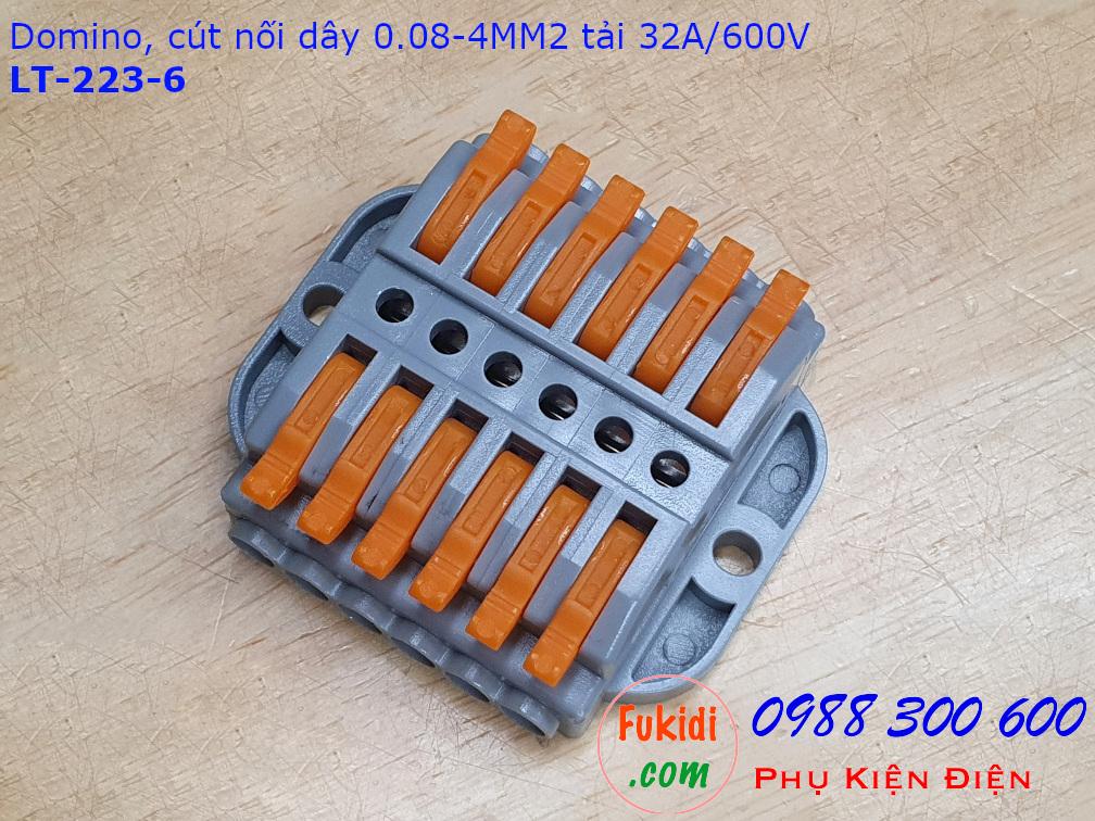 Domino 6 chân, cút nối dây 6 chân LT-223-6 nối 6 cặp dây 0.08-4mm2, công suất 32A/600V