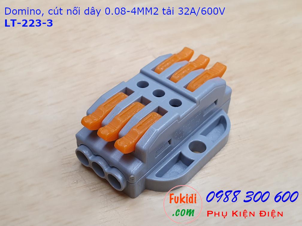 Domino 3 chân, cút nối dây 3 chân LT-223-3 nối 3 cặp dây 0.08-4mm2, công suất 32A/600V