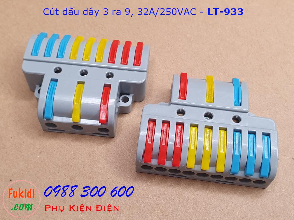 Cút nối dây chia ba ra chín dây 32A 250VAC LT-933