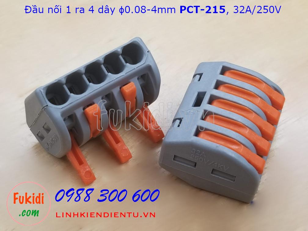 Cút nối dây, đầu nối 1 dây ra 4 dây phi 0.08-4mm PCT-215  32A/250V