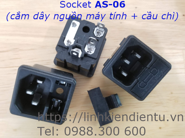 Socket AS-06 - cắm dây nguồn máy tính có cầu chì