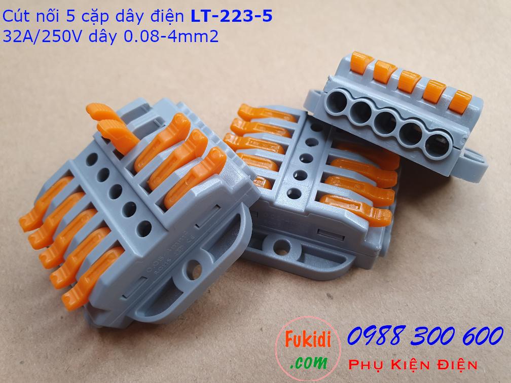 Cút nối dây SPL-5 dùng nối năm cặp dây 0.08-4mm2 với nhau công suất 32A/250V