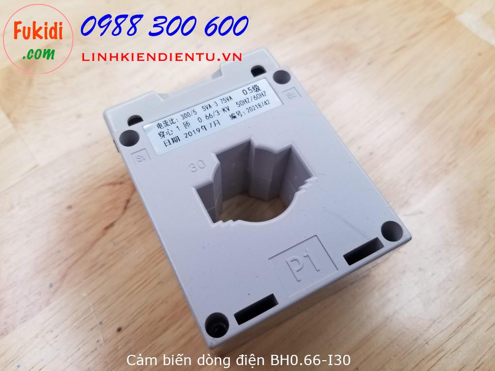 Cảm biến dòng điện BH0.66-I30 đo dòng điện 50A, 100A, 200A và 300A, ngõ ra 5A, khe luồn dây 30mm