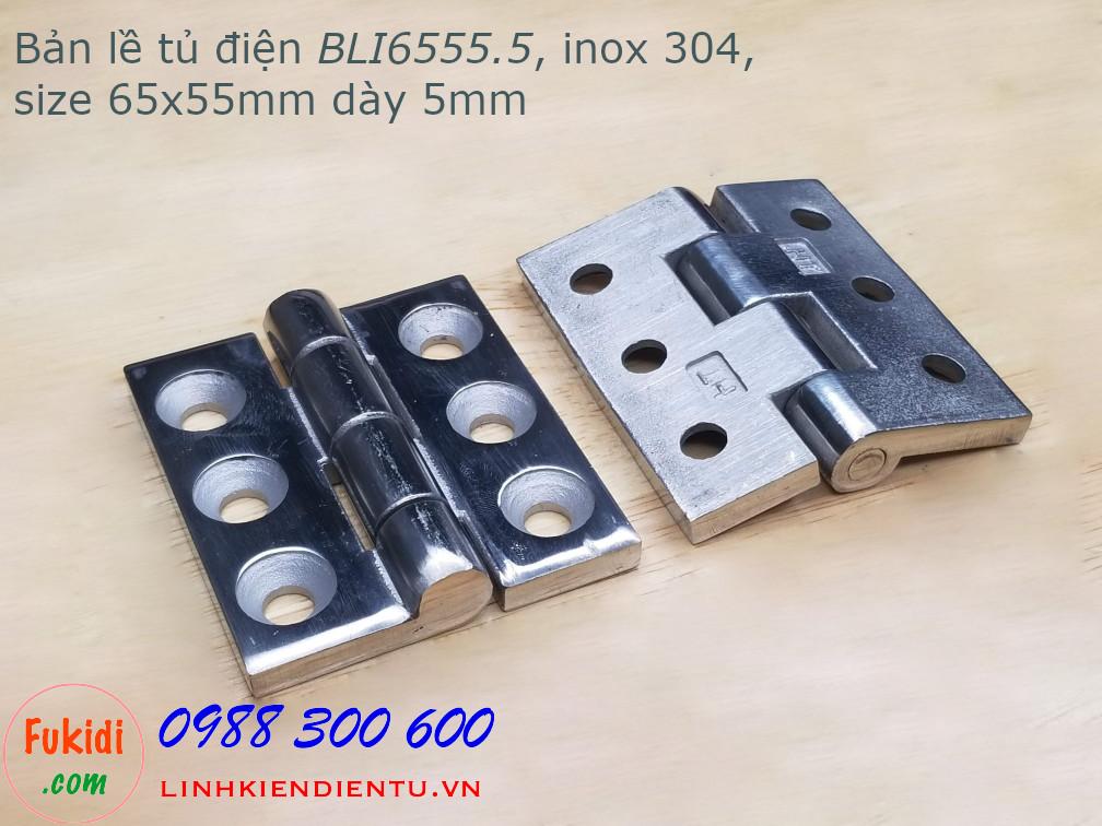 Bản lề tủ điện BLI6555.5 size 65x55mm inox 304 bề dày 5mm