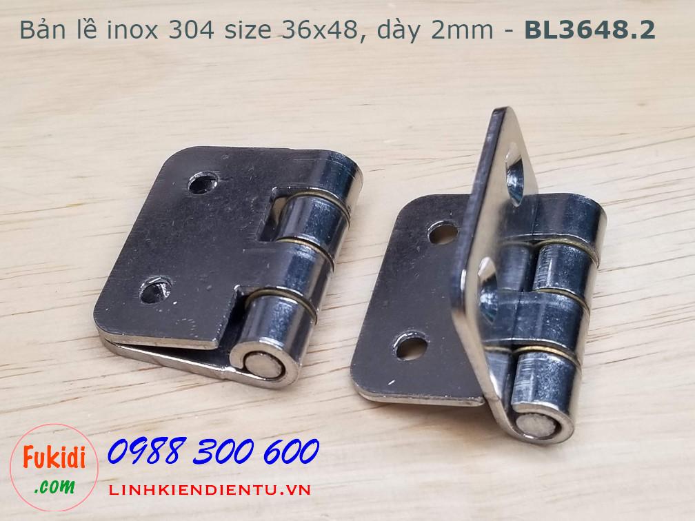 Bản lề inox 304 kích thước 36x48 bề dày 2mm model BL3648.2