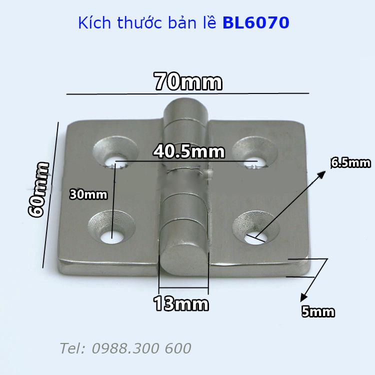Bản lề inox mờ size 60x70x5mm - BL6070