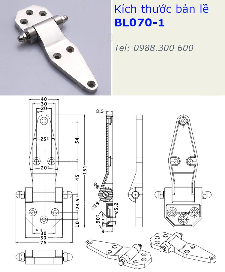 Bản lề SU304 kích thước 76x151mm - BL070-1