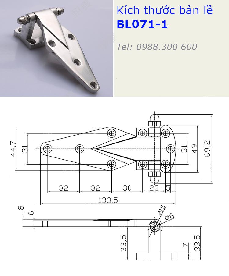 Bản lề tủ điện inox 304 kích thước 69x133mm - BL071-1