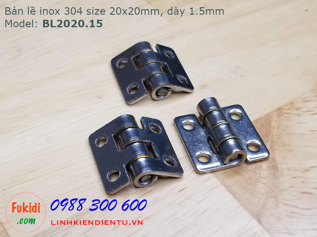 Bản lề inox 304 size 20x20mm, dày 1.5mm, model: BL2020.15