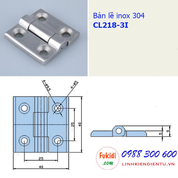 Bản vẽ chi tiết kích thước của bản lề inox 304 model CL218-3I