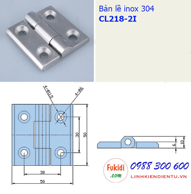 Bản vẽ chi tiết kích thước của bản lề inox CL218-2I