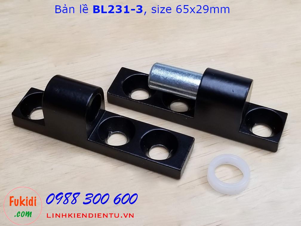 Bản lề nhôm BL231-3 màu đen kích thước 65x29mm