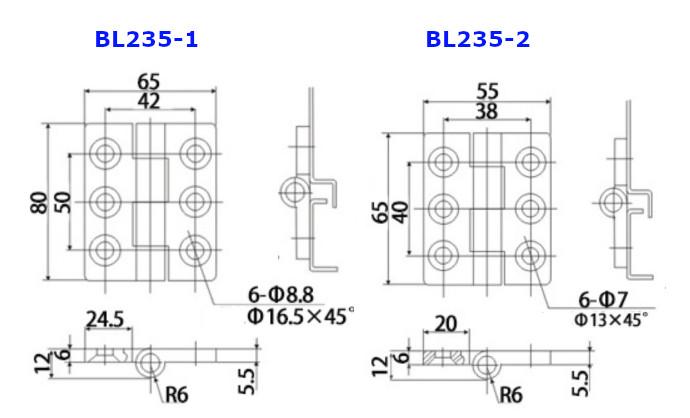 Bản lề tủ điện BL235-2 kích thước 55x65mm màu đen