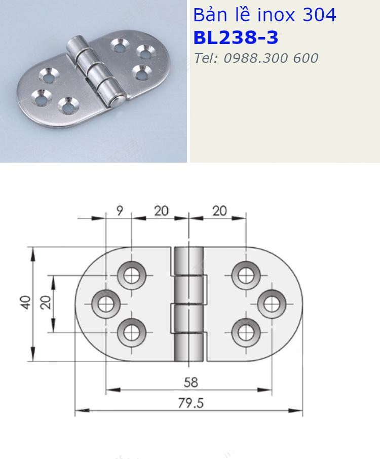 Bản lề inox 304 size 79.5x40mm dày 2.5mm - BL238-3