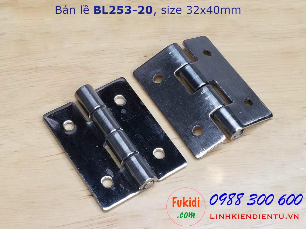 Bản lề thép không rỉ BL253-20 kích thước 32x40mm