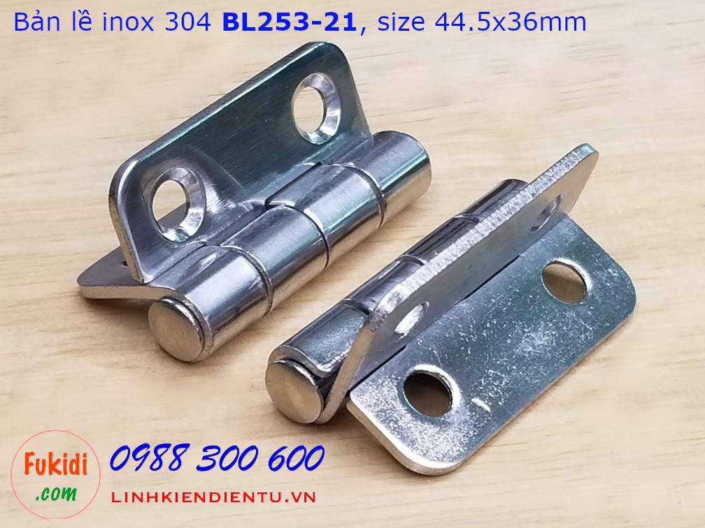 Bản lề tủ điện CL253-21, chất liệu inox 304, kích thước 36x44mm màu bạc