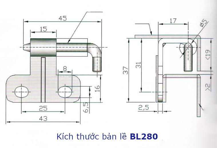 Bản lề thép BL280 kích thước 37x43mm