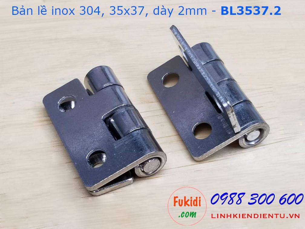 Bản lề inox 304 size 35x37mm dày 2mm - BL3537.2