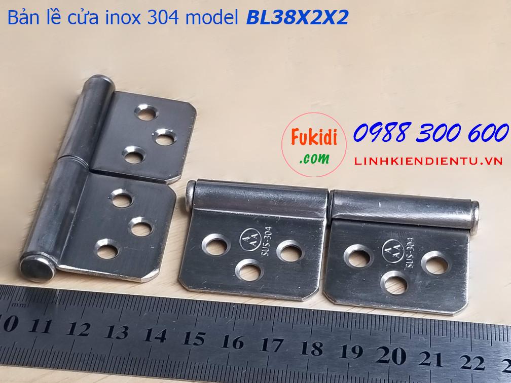 Bản lề inox 304 kích 38x76mm dày 2mm hai mảnh tháo rời được - BL38X2X2